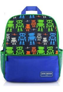 Mochila Infantil Escolar Jacki Design Robô Microfibra Masculino - Masculino-Marinho+Verde