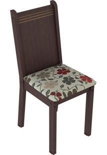 Kit 6 Cadeiras 4290 Tabaco E Hibiscos Madesa