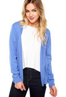 Cardigan Malwee Liso Azul