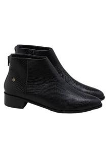Ankle Boot Capodarte Couro Pitone Preta