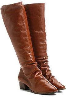 Bota Couro Shoestock Longa Enrugadinha Feminina - Feminino-Caramelo