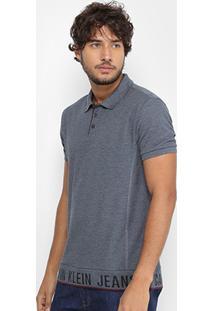 Camisa Polo Calvin Klein Piquet Barrado Masculina - Masculino