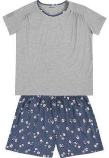 Pijama Em Malha De Algodão Com Shorts Estampado Em Outros Tamanhos