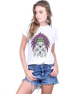 Camiseta Joss Estampada Feminina - Feminino-Branco