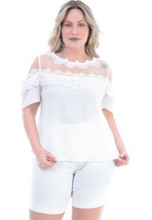 Blusa Plus Size Querida: Branco: 46