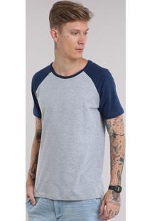 Camiseta Básica Com Recorte Cinza Mescla