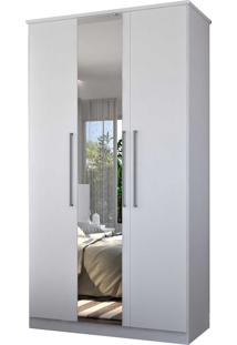 Guarda-Roupa Casal 3 Portas C/ 1 Espelho 100% Mdf Branco Foscarini