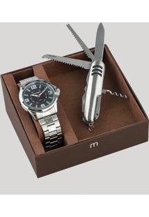 Kit De Relógio Analógico Mondaine Masculino + Canivete - 83419G0Mvne1Ka Prateado - Único