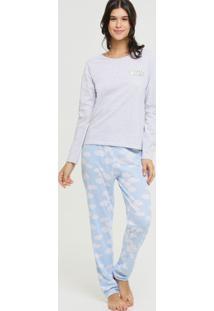 Pijama Feminino Estampa Nuvem Manga Longa Marisa