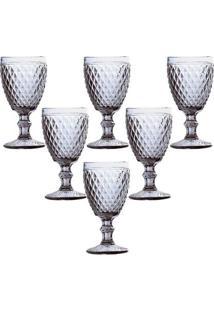 Conjunto De 6 Taças Água Em Vidro Bico De Abacaxi 325Ml Lyor