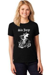Camiseta T-Shirt São Jorge Baby Look Feminina - Feminino-Preto