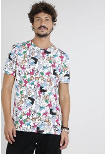Camiseta Masculina Os Jetsons Estampada Manga Curta Gola Careca Off White