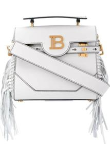 Balmain Bolsa Tote B-Buzz 23 Com Franjas - Branco