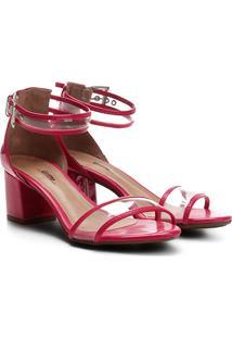 Sandália Griffe Salto Grosso Transparente Verniz Feminina - Feminino-Pink