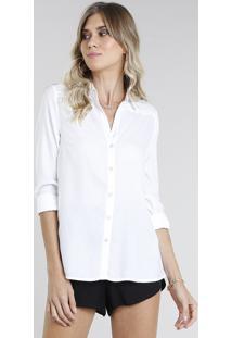 Camisa Feminina Com Fenda Manga Longa Off White