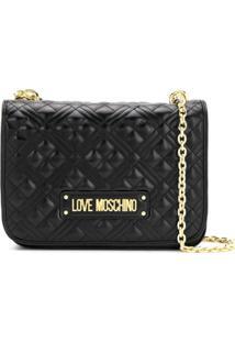 Love Moschino Bolsa Transversal Matelassê Com Placa De Logo - Preto