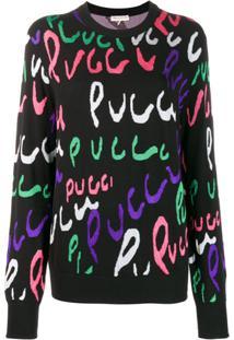 Emilio Pucci Suéter Com Logo - Preto
