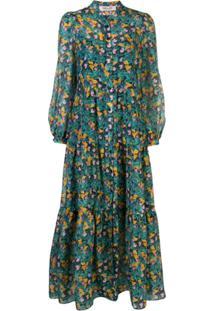 Dvf Diane Von Furstenberg Floral Print Tiered Dress - Verde
