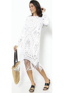 Vestido Renda & Franjas- Off White & Begeuv Line