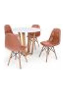 Conjunto Mesa De Jantar Lara 90Cm Branca Com 4 Cadeiras Charles Eames Botonê - Marrom