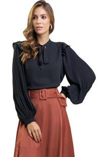 Blusa Mx Fashion De Chiffon Com Mangas Plissadas Pietra Preta