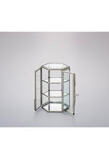 Caixa, Porta Jóias 16Cm De Metal E Vidro Em Forma De Vitrine Almera Wolff - R4156