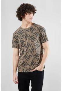 Camiseta Pf Estampa Fraktur Reserva Masculina - Masculino-Marrom