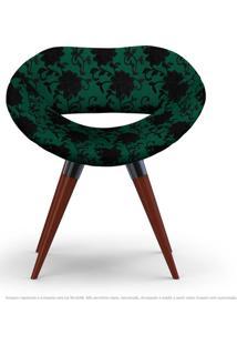 Poltrona Beijo Floral Preto E Verde Cadeira Decorativa Com Base Fixa