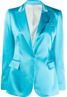 P.A.R.O.S.H. Blazer De Alfaiataria Em Cetim - Azul