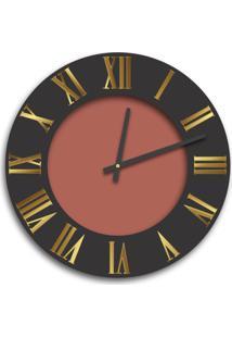 Relógio De Parede Premium Preto Ônix Com Relevo Em Acrílico Espelhado Dourado E Cobre Metálico 50Cm Grande