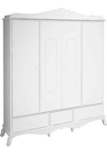 Guarda-Roupa Casal 4 Portas Realeza Móveis Canaã Branco Acetinado