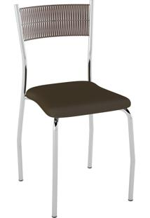 Kit C/ 2 Cadeiras Encosto Tabaco Assento Cacau Pozza
