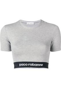 Paco Rabanne Camiseta Cropped Bodyline - Cinza