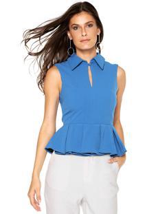 Camisa Lança Perfume Peplum Azul