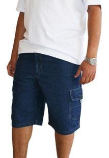 Bermuda Dazz Ling Plus Size Cós Elástico Jeans Azul