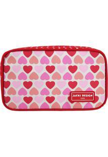 Nécessaire Corações - Vermelha & Rosa Claro - 11X19Xjacki Design