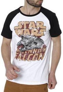 Camiseta Manga Curta Masculina Star Wars Branco