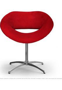 Cadeira Beijo Vermelha Poltrona Decorativa Com Base Giratória
