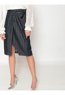 Saia Jeans Reta Listrada - Azul Escuro & Branca - Momorena Rosa