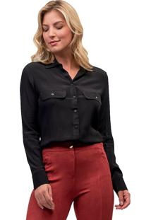 Camisa Crepe Mx Fashion Leonora Preta