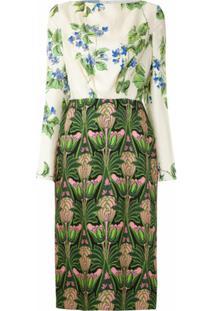 Prada Vestido Midi De Seda Estampado - Colorido