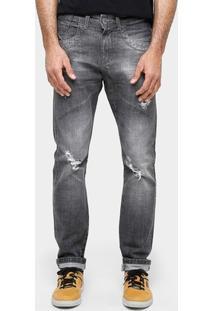 Calça Jeans Razon Slim Fit Stone Rasgados Masculina - Masculino