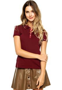 Camisa Polo Manga Curta Malwee Bordada Estampada Vinho