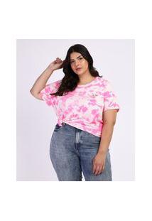 Blusa Feminina Plus Size A Pantera Cor De Rosa Estampada Tie Dye Manga Curta Multicor