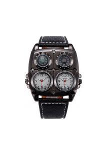 Relógio Masculino Oulm Hp1140 Analógico - Branco E Preto
