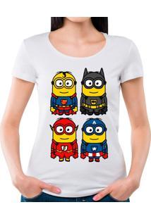 Camiseta Feminina Minions Heróis Geek10 - Branco