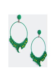 Brinco Argola Detalhe Crochet - Verde Tropical - U