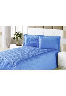 Colcha Clean Queen Azul Com 4 Peças Algodão E Poliester - Aquarela