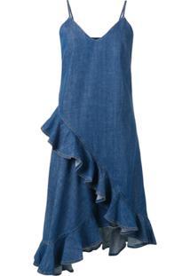 Kenzo Vestido Jeans Com Franzido - Azul