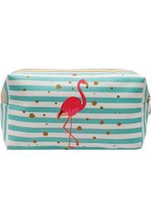 Necessaire Glamour Estampada De Flamingo Listrada - Unissex-Azul